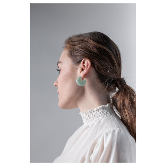 Mint coloured eco-resin curved earrings