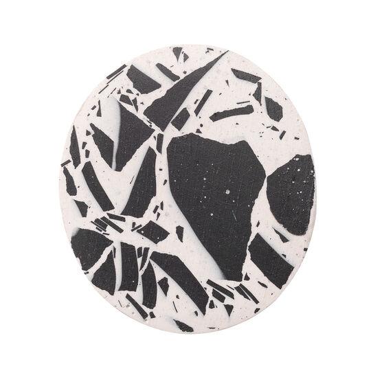 Black and white terrazzo brooch