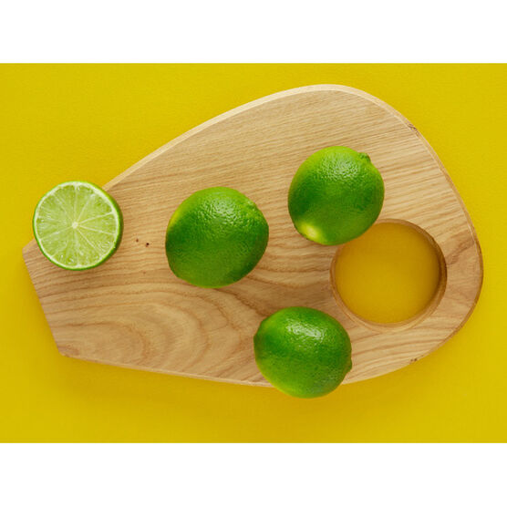 Wide round top small wooden chopping board