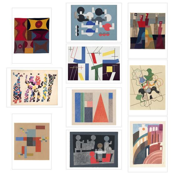 10 postcards of Sophie Taeuber-Arp artworks on a white background