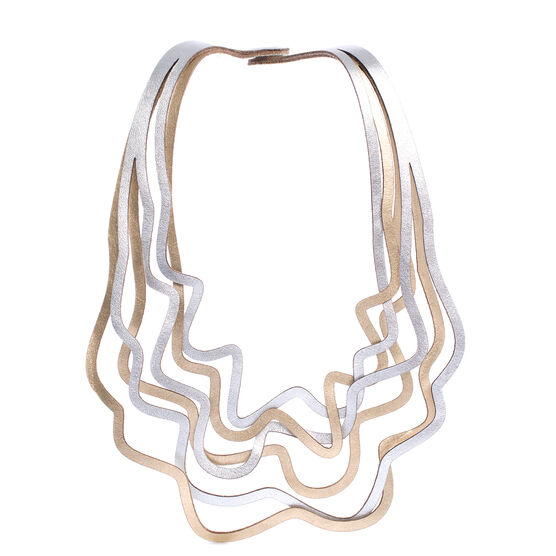 Curves gold and silver leather necklace