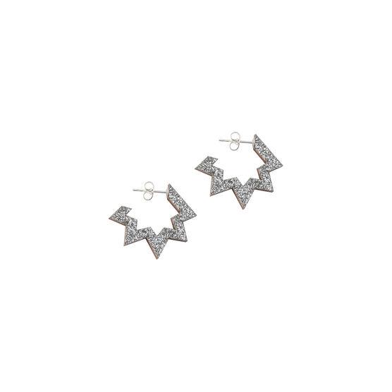Silver glitter spark hoop earrings