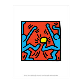 Keith Haring: Untitled (Blue Footballers, Yellow Ball) mini print