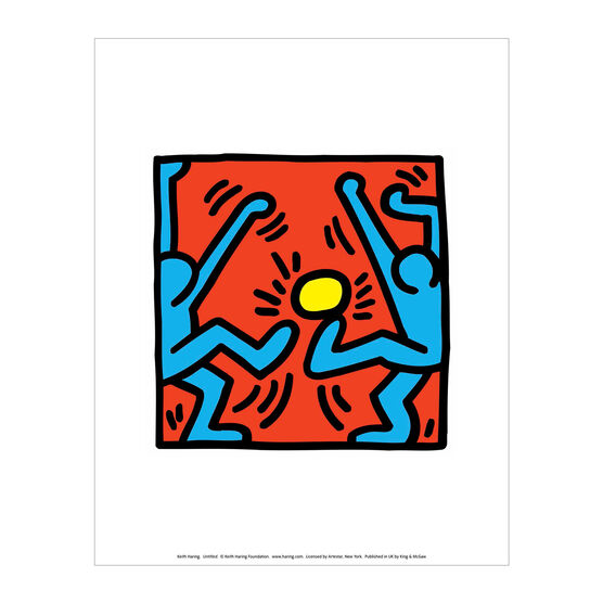 Keith Haring: Untitled (Blue Footballers, Yellow Ball) mini print