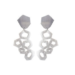 silver leather earrings, laying flat