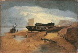 John Sell Cotman: Seashore with Boats