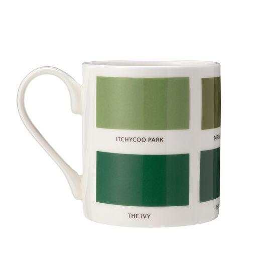 The Colours of London green mug -back