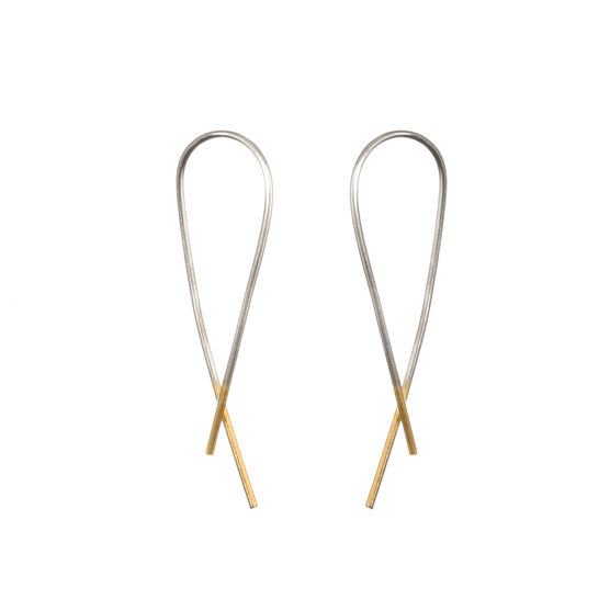 Silver and gold crossover earrings