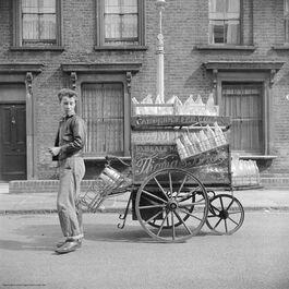 Nigel Henderson: An unidentified young man beside a milk cart