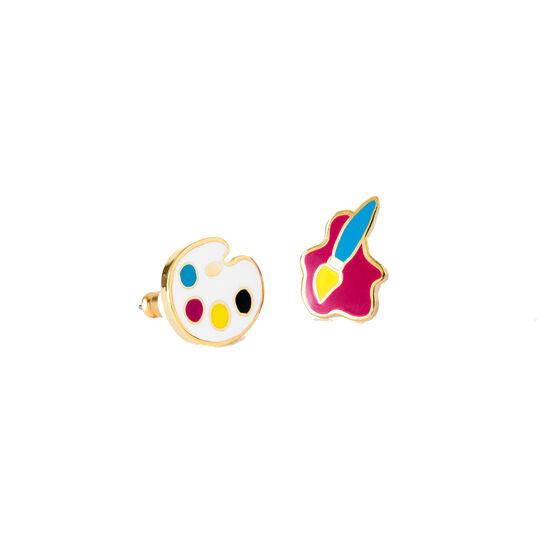 Paintbrush and palette earrings