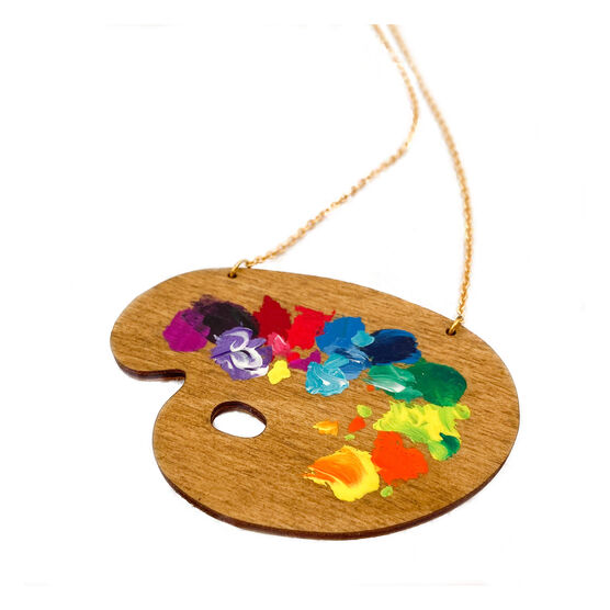 Wooden paint pallete necklace with paint splotches