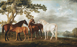 George Stubbs: Mares and Foals in a River Landscape