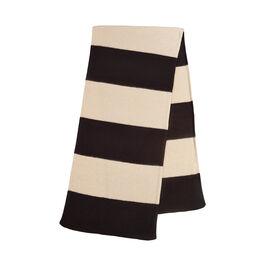 Wide stripe brushed blanket scarf