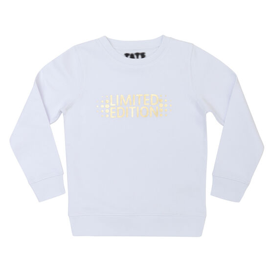 White kids' sweatshirt with Limited Edition chest graphic - front