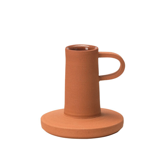 Terracotta candle holder with handle