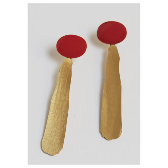 Joan Miró red and gold drop earrings