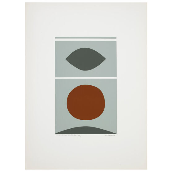Paule Vézelay, A Circle, A Form and Two White Lines, 1970