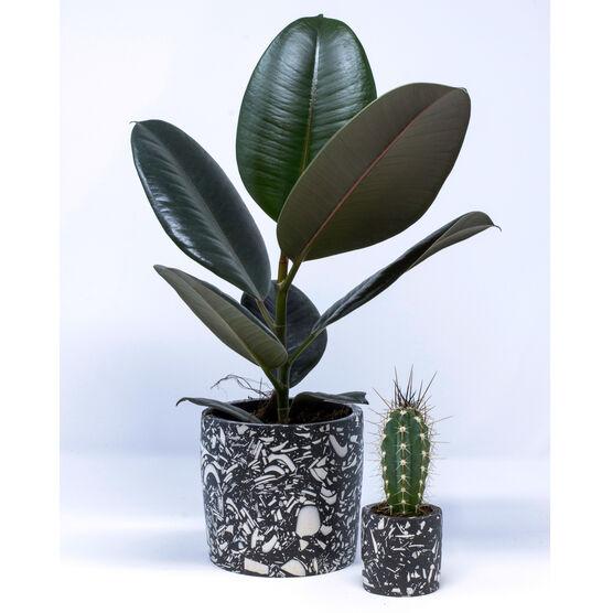 Black terrazzo plant pot