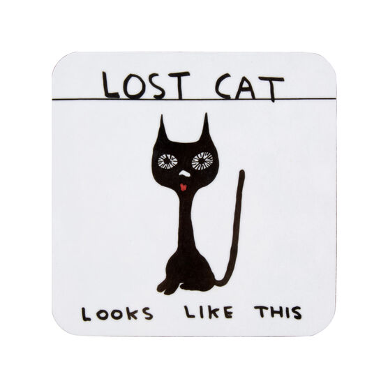 David Shrigley Lost Cat coaster