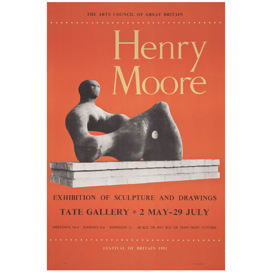 Henry Moore: Exhibition of Sculpture and Drawings 1951 vintage poster