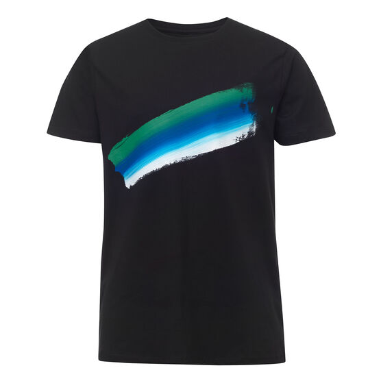 Black t-shirt with green, blue and white painted stroke - front