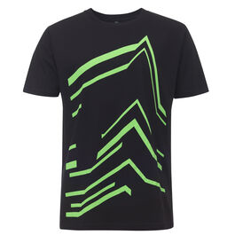 Black t-shirt with bright green outline of Tate Modern's Blavatnik building across the front