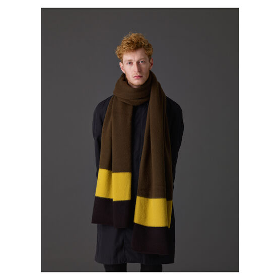 Striped end brushed blanket scarf