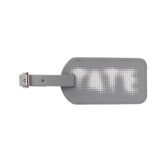 Tate light grey leather luggage tag
