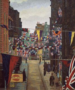 Charles Ginner: Flask Walk, Hampstead, on Coronation Day