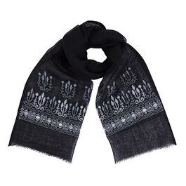 Embroidered scarf - monochrome - Mona Hatoum