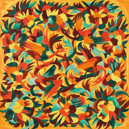 Goncharova: Design with birds and flowers. Study for textile design