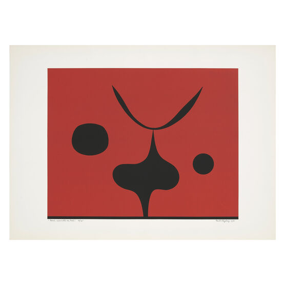 Paule Vezelay, Black Silhouettes on Red, 1976 limited edition