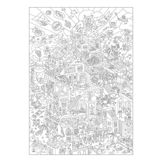 Party colouring poster