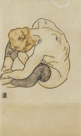 Egon Schiele: Squatting Woman
