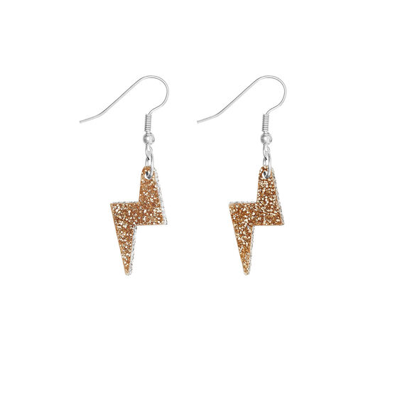 Tatty Devine gold glitter lightning bolt earrings