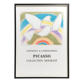 Pablo Picasso: The Rainbow Dove framed lithographic poster