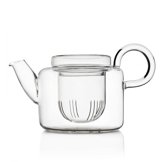 Piuma short glass teapot
