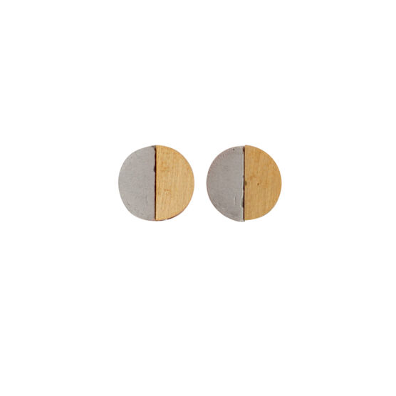 Concrete and brass disc earrings
