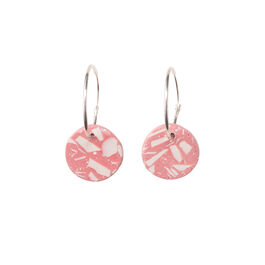 Pink and white terrazzo circle hoop earrings