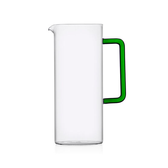 Tube jug with green handle
