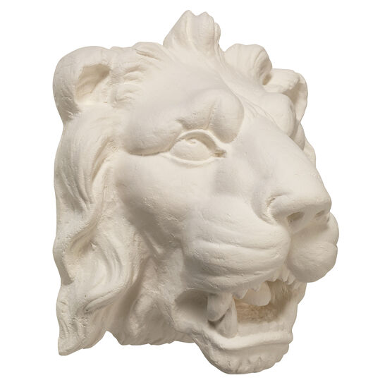 Ornamental plaster cast lion's head