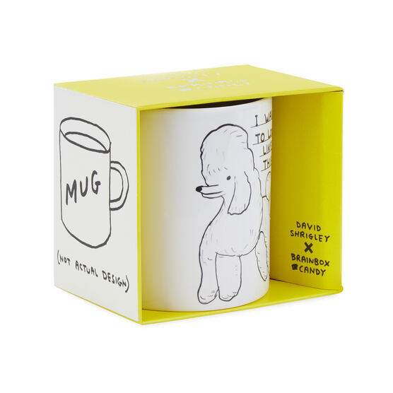 David Shrigley Poodle mug - boxed from the side