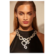 Silver leather necklace on a model