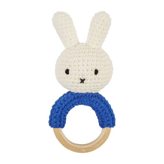 Miffy blue handmade ring rattle