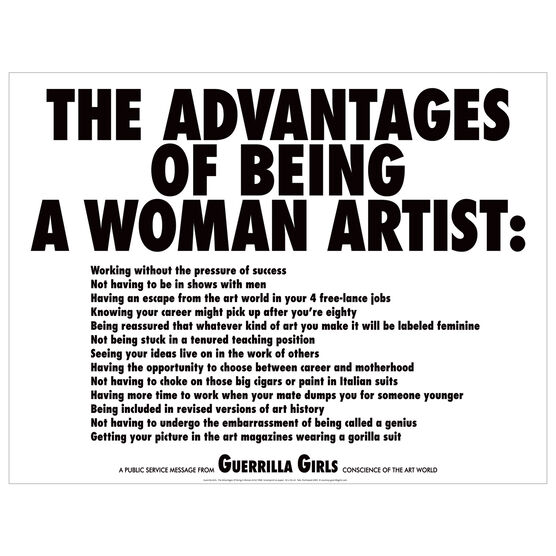Guerrilla Girls: The Advantages Of Being A Woman Artist screenprint
