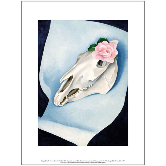 Georgia O'Keeffe Horse's Skull with Pink Rose (exhibition print)